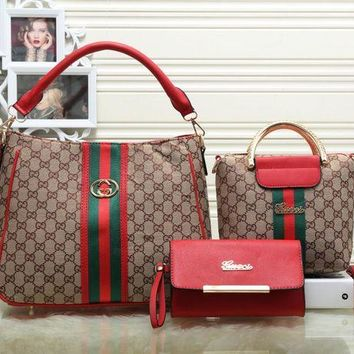 Gucci Fashion trending Shopping Bag Leather Tote Handbag Shoulder Bag Three Piece Set For Women G