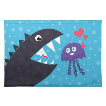 Cute Jellyfish In Love With Sea Monster Placemat