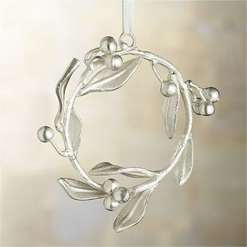 Silver Mistletoe Wreath Ornament