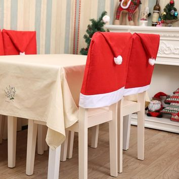 2/4/6pcs Santa Claus Hat Chair Covers Christmas Decorations for Home 2018 Party Merry Christmas Dining Table Party Xmas Decor