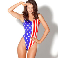 American Flag Stars One piece Bikini Swimsuit
