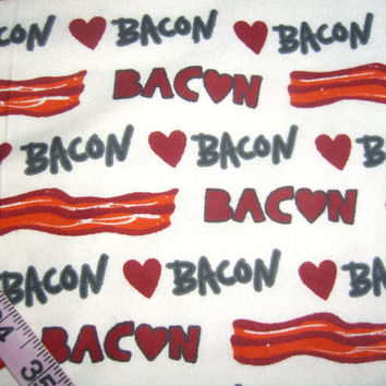 Flannel fabric with I love Bacon strips love heart cotton quilt quilting sewing material to sew by the yard crafting project 1yd BTY