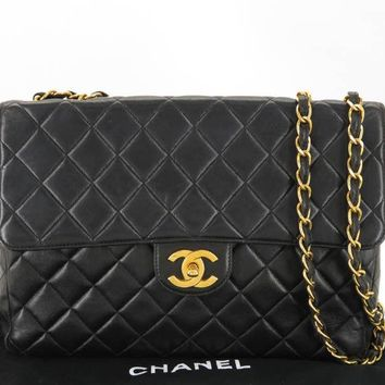 AUTH CHANEL CC BLACK LAMBSKIN MATELASSE SHOULDER BAG NO SERIAL STICKER EY408