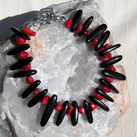 "Natural Red Coral & Black Onyx Crystal Gemstone Bracelet - ""Red Terra"""