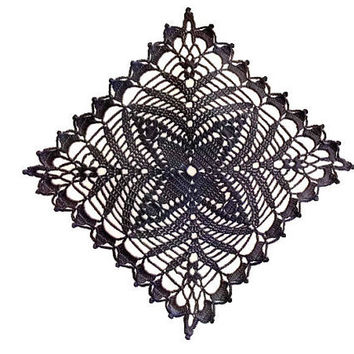 Square Black Crochet Doily 10 inches, Country Style Home Decor