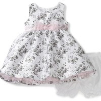 Nannette Baby-girls Infant Rose Print Shangtung Dress with Faux Diamonte Slider, White, 18 Months