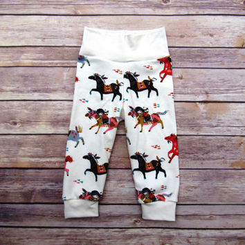 Organic Cotton Jogging Pants- Native Wild Horses- 6-9 Months Baby cuff pants- Gender Neutral Lounge Wear-Baby Shower Gift- Ready to Ship