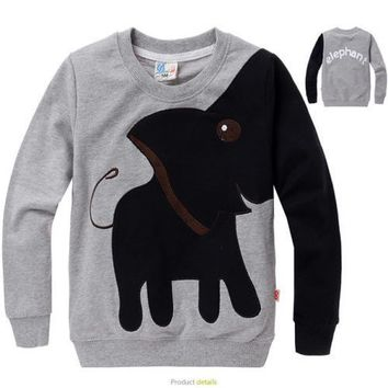 Animal Elephant Sweater T-shirt Baby Kids Autumn Winter Clothes Size 3-8Y