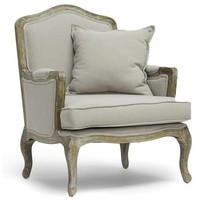Audrey Taupe Upholstered Arm Chair