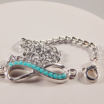 Silver inifinity symbol bracelet with chain, turquoise colored beads -Metis pride- dainty stackable jewelry - gift idea birthday, graduation