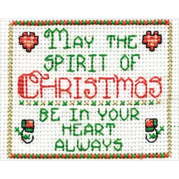 "Spirit Of Christmas W/Frame Mini Counted Cross Stitch Kit-2""X3"" 18 Count"