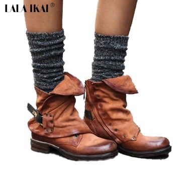 LALA IKAI Pleated Chelsea Boots Women PU leather Plus Size 36-43 Ankle Boots Round Toe Low Heel Autumn Short Boots 014N1364-4