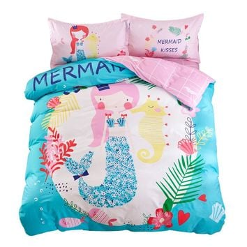 Mermaid Sheet Pillowcase Duvet Cover Sets Twin Single Queen size Cartoon Kids Teens Bedding Set 3/4pc Bedlinen 100% Cotton