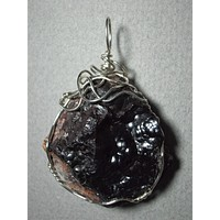 Hematite Botryoidal Crystal Pendant Wire Wrapped .925 Sterling Silver