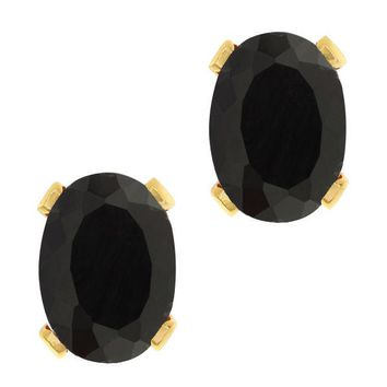 1.36 Ct Oval Shape Black Onyx Yellow Gold Plated Brass Stud Earrings
