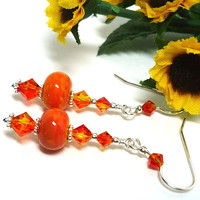 Tequila Sunrise Swarovski Fire Opal Orange Lampwork Sterling Earrings