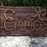 "26"" Rope name sign, western sign, new baby, western nursery, western theme, country decorations, photo prop,cowgirl theme, emma,"