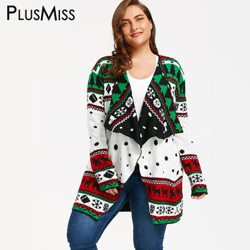 PlusMiss Plus Size 5XL Christmas Tunic Draped Long Cardigan Sweater Women Open Stitch Poncho Knitted Jumper Oversized Winter