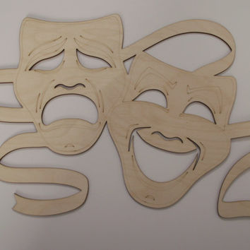 Tragedy and  Comedy Masks, Theatrical Masks, Laser Cut Wood Shapes, Mardi Gras, Home Decor, Wreaths, Door Hangers, Ready to Paint Woodcraft