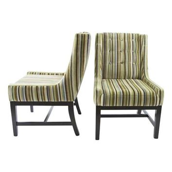 Pre-owned Vanguard Furniture Velvet Striped Chairs - A Pair