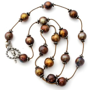 Brown Tin Cup Pearl Necklace Sterling Silver