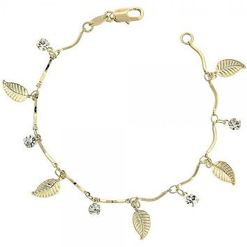 Gold Layered 03.63.1053.07 Charm Bracelet, Leaf Design, with White Cubic Zirconia, Polished Finish, Gold Tone
