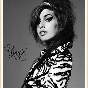 Amy Winehouse, signed autographed A4 print on black card mount, black frame, or gold frame