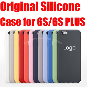 1:1 Original Silicone Case for iphone 6S Back Cover for iphone 6S Plus Protective Skin with Apple Logo Original Package
