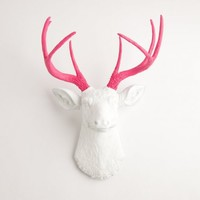 The Boris - White W/ Pink Antlers Resin Deer Head- Stag Resin White......