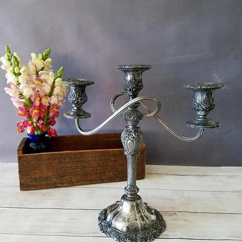 Silver Candelabra/ 3 arm candelabra/ weighted candelabra/ tarnished silver/ Rustic Candle Sticks/ Wedding Decor/ Centerpiece/ Silverplate