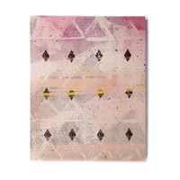 """Mmartabc """"Abstract Geometry And Painting"""" Gray Pink Painting Birchwood Wall Art"""