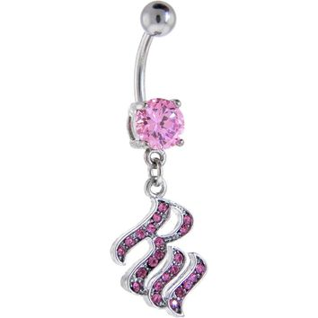 ROCAWEAR Pink Austrian Crystal SOLITAIRE Steel Belly Ring
