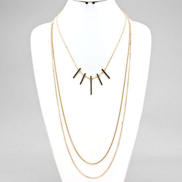 Rhinestone Bars Two Chains Drop Black Gold Necklace