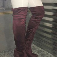 Cranberry Addiction Pointed Over the Knee Heeled Boot