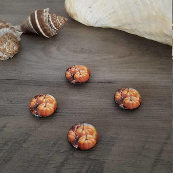 Set of 4 Glass Pumpkin Refrigerator Magnets Fall Harvest Thanksgiving Kitchen Home Decor