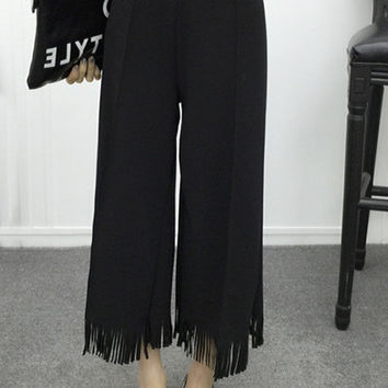 Trendy Pure Color High Waist Fringed Wide Leg Pants