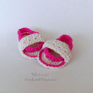 crochet infant summer sandals, handmade, photo prop, sandals, flip flops, baby shoes, baby shower gift, new baby gift, baby sandals