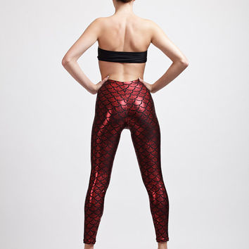 Fire Red Mermaid or Dragon Super High Waisted Holographic Leggings