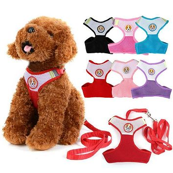 Small Dog Pet Puppy Harness and Leash Rope Set Breathable Mesh Pink Red Blue Black Purple Rose