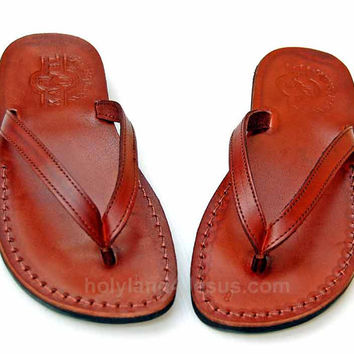 Summer Style Of Comfort Flip-Flop Design Handwork Greek Leather Sandals size's : US 5-12   EU 35-46 Brown/black !