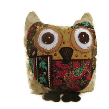 Brown Paisley Woodland Stuffed Owl