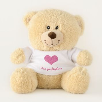 Pink Heart I Love You Personalized Girly Name Teddy Bear