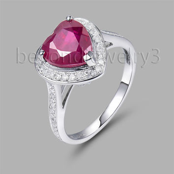 vintage natural red ruby heart rings,14kt/585 white gold vintage ruby engagement ring, ruby diamond  sr0077
