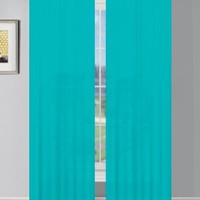 Window Elements Sheer Elegance Faux Linen Extra Wide 108 x 84 in. Grommet Curtain Panel Pair, Teal