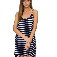Striped Spaghetti Strap Asymmetrical Dress
