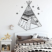 "Wall Decals Wigwam Vinyl Stickers Decal Nursery Baby Room Rustic Family Decor Teepee Art Decorations for Home Bedroom Playroom NS1086 (17"" Wide x 19"" Tall)"