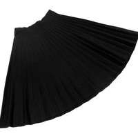 Pleated Midi Skirt - Black High Waist Minimal 90s Grunge Goth - Size Large Extra Large Lrg XL L