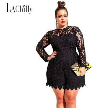 DCCKU62 2017 New sexy Lace jumpsuit women Plus Size Long Sleeve Lace Romper LC60599 sexy jumpsuit macacao feminino coveralls