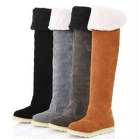 Shoes Folding Over-the-Knee Round Toe Women's Winter Boots