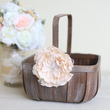 Rustic Flower Girl Basket Lace Rhinestones by Morgann Hill Designs